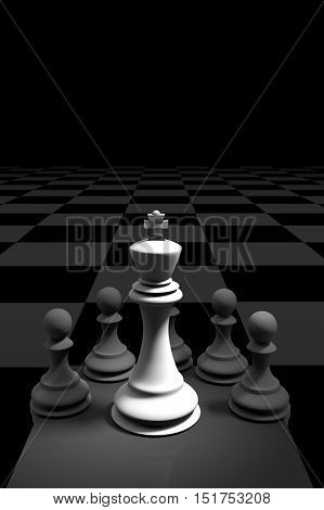 3D Rendering : illustration of chess pieces.the king chess at center with pawn chess in the back.put on chess board.light drop at the king.leader concept.success conceptbusiness leader concept