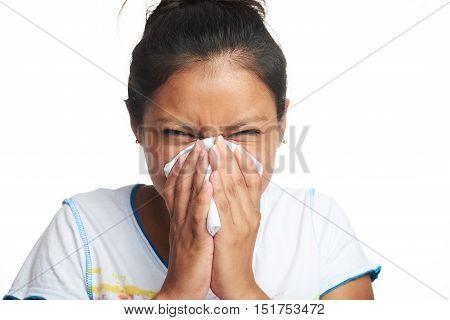 Latino Girl Blow Her Nose