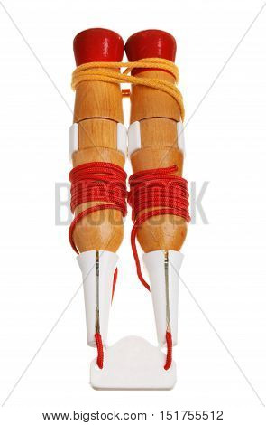 One pair of saftey spikes isolated on white to wear on the lake and sea ice for survival purposes in case the ice breaks.