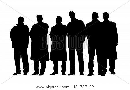 Group of business people in winter coats and jackets at a meeting. Isolated white background. EPS file available.