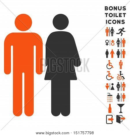Married Couple icon and bonus gentleman and woman WC symbols. Vector illustration style is flat iconic bicolor symbols, orange and gray colors, white background.