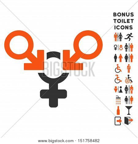 Polyandry icon and bonus gentleman and female restroom symbols. Vector illustration style is flat iconic bicolor symbols, orange and gray colors, white background.