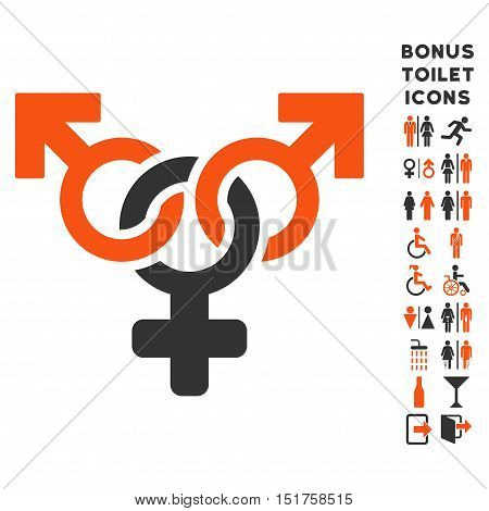 Polyandry icon and bonus male and lady WC symbols. Vector illustration style is flat iconic bicolor symbols, orange and gray colors, white background.