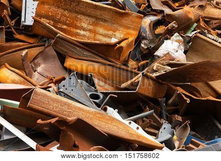 Scrap metal ready for recycling at the scrap yard.