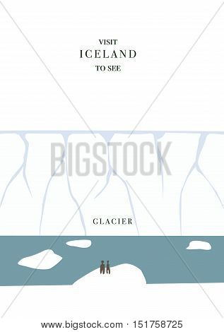 Iceland invating postcard. Glacier and icebergs vector simple flat design
