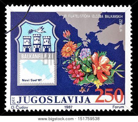 YUGOSLAVIA - CIRCA 1987 : Cancelled postage stamp printed by Yugoslavia, that promotes Balkanfila.