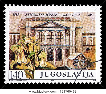 YUGOSLAVIA - CIRCA 1988 : Cancelled postage stamp printed by Yugoslavia, that shows Earth museum in Sarajevo.