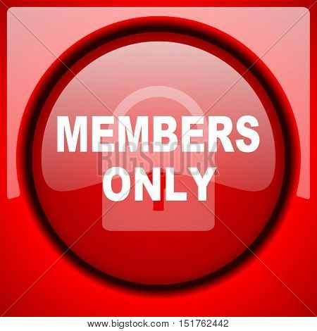 members only red icon plastic glossy button