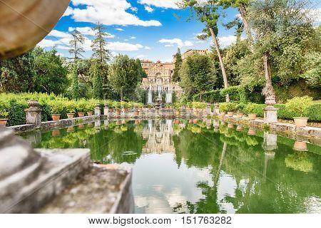 Fish Ponds And Fountain Of Neptune, Villa D'este, Tivoli, Italy