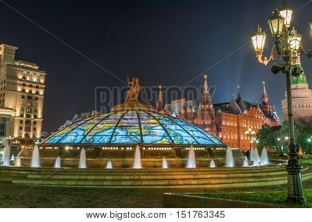 Night View Of Manezhnaya Square  In Moscow, Russia