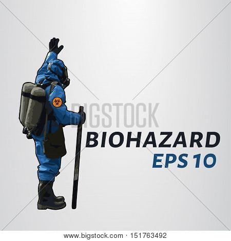 The man in the hazmat suit raises his hand. Vector illustration