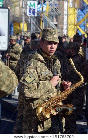 Ukrainian nazionalists celebrate the Day of OUN-UPA (Organisation of Ukrainian Nazionalists - Ukrainian Peoples Army). October 14,2016,Kiev, Ukraine