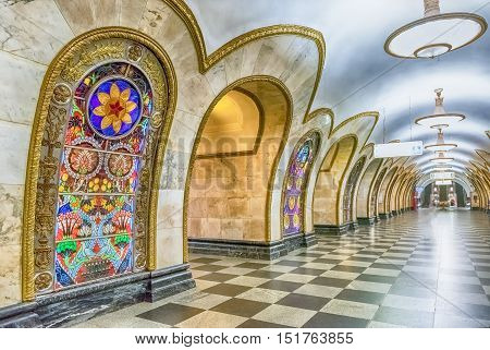 Interior Of Novoslobodskaya Subway Station In Moscow, Russia