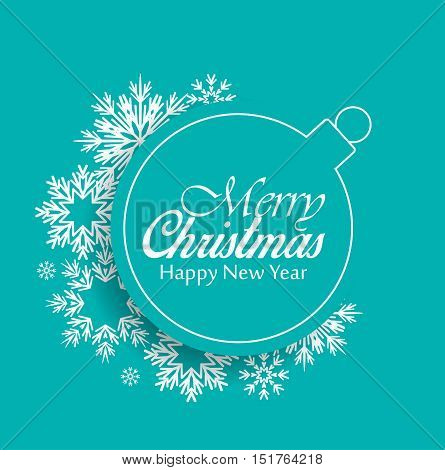 Vector Christmas balls on red background, Merry Christmas card