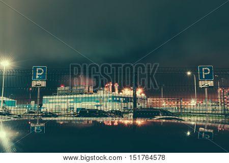 Gloomy car park at night near Enterprise