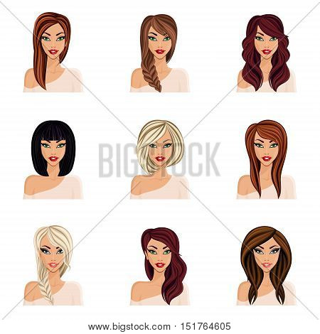 Set of hairstyles for girls create your avatar young woman girl. Hairstyles for long hair isolated. Face neck eyes lips. vector illustration.