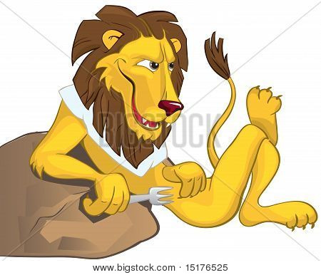 Hungry lion leaning on a stone. The vector image poster