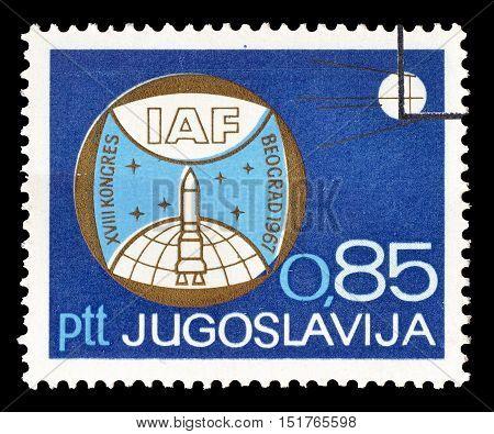 YUGOSLAVIA - CIRCA 1967 : Cancelled postage stamp printed by Yugoslavia, that shows IAF Emblem.