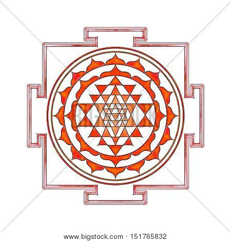Illustration of a sacred sri yantra symbol.