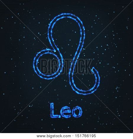 Astrology Shining Blue Symbol. Horoscope Sign. Zodiac Leo.