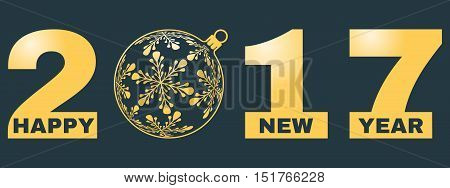 happy new year 2017 background new year concept with cut out text and ornament on very dark desaturated blue background