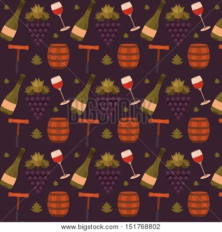 Vector seamless pattern with wine, grapes and barrel. Wine background for label, packaging, tag, brochure, cards, cover, banner and web pages. Template for design. Illustration winemaking business.