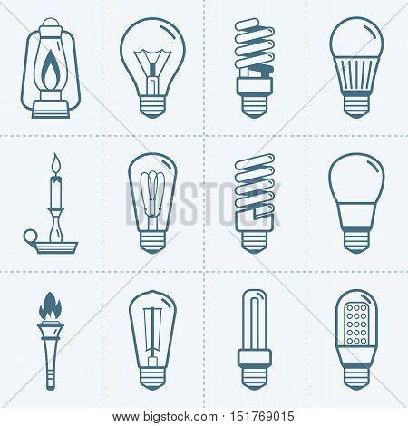 Various light bulb icons set. Vector illustration
