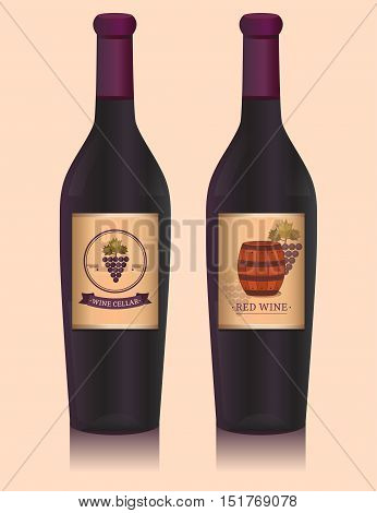 Wine bottle with label. Vector illustration with grapes and wine barrel. Template for design label. Background for the packaging, tag, packet, flyer, brochure, cover, card, banner, poster.