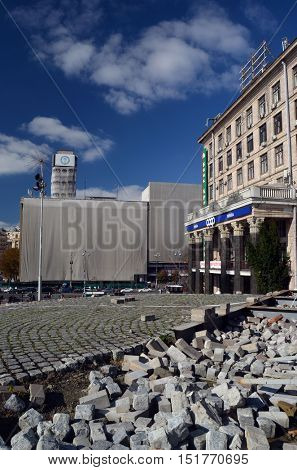 Downtown of Kiev. Decay 3 years after occupation of catholic peasants from Western Ukraine (Raguls) during Revolution of Dignity.Traditional culture of Western Ukraine.October 14,2016,Kiev, Ukraine