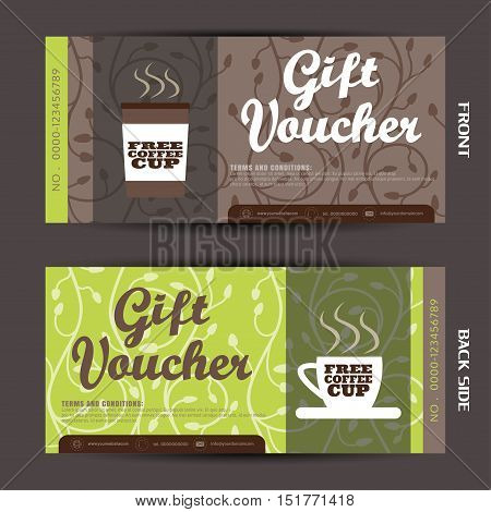 Blank of gift voucher on the floral background vector illustration to increase the sales of coffee.