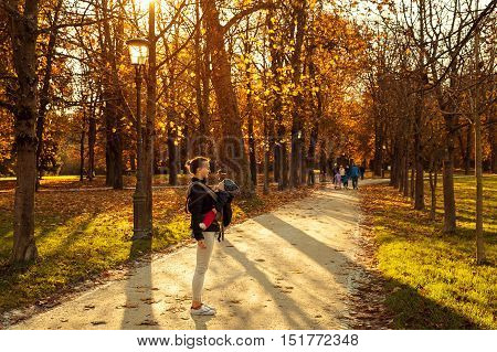 Baby in carrier. Family in the autumn Tivoli park in Ljubljana Slovenia. Mom playing with son child in the autumn nature. Mom and her little baby child happy together.