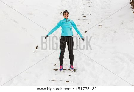 Girl Enjoying Winter Time.