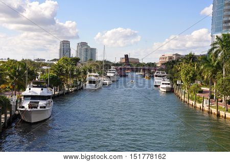 FORT LAUDERDALE, FL, USA - DEC 18: Fort Lauderdale New River is Intracoastal Waterway to Atlantic Ocean and is home for luxurious yachts on Dec. 18, 2012 in Fort Lauderdale, Florida, USA.