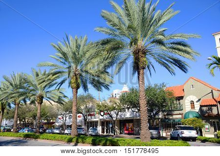MIAMI - DEC 20, 2012: Miracle Mile in Coral Gables, Miami, Florida, USA