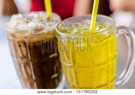 Ice Coffee And Chrysanthemum Tea In Summer Time