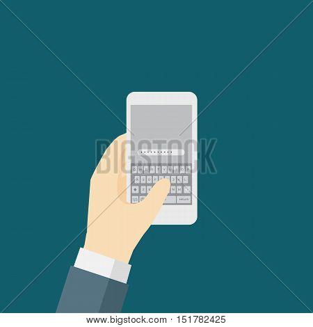 Businessman Typing On The Smart Phone With Qwerty Keyboard