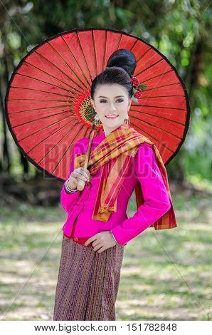 Beautiful Thai Girl In Thai Dress Identity  Traditional Costume, Culture Of Thailand