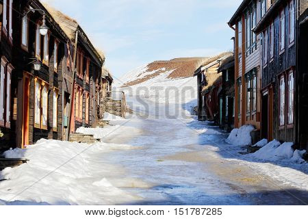 Old wooden buildings i the Norwegian town Roros.