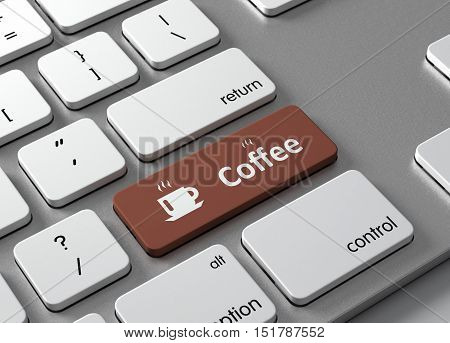A keyboard with a gray button Coffee