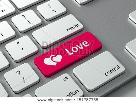 A keyboard with a red button Love