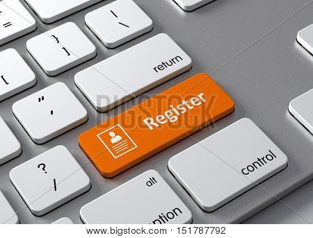 A keyboard with a orange button Register
