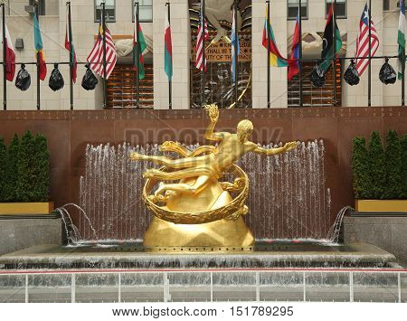 NEW YORK - OCTOBER 13, 2016: Statue of Prometheus at the Lower Plaza of Rockefeller Center in Midtown Manhattan