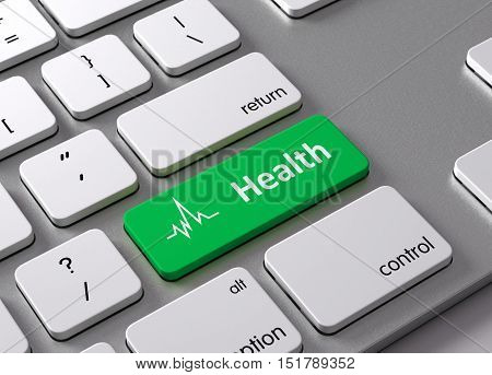 A keyboard with a green button Health