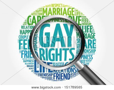 Gay Rights Word Cloud With Magnifying Glass