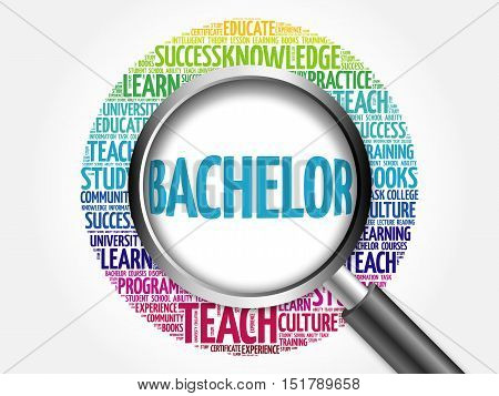 Bachelor Word Cloud With Magnifying Glass