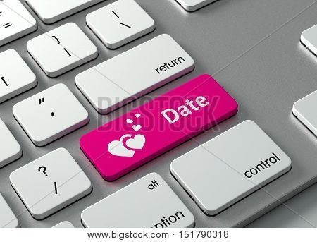 A keyboard with a pink button Date