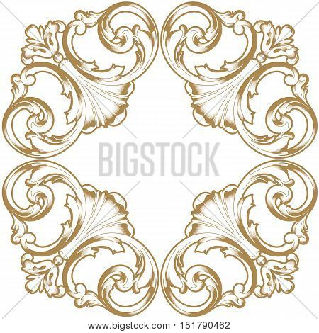 Golden vintage ornament, baroque ornament,  scroll ornament, engraving border ornament, floral ornament, retro pattern ornament, antique ornament, style acanthus ornament, foliage swirl ornament, decorative ornament, filigree ornament, calligraphy ornamen