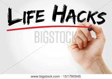 Hand writing Life Hacks with marker concept background poster