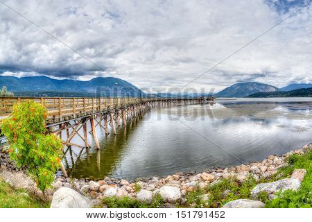Salmon Arm Wharf On A Cloudy Morning.