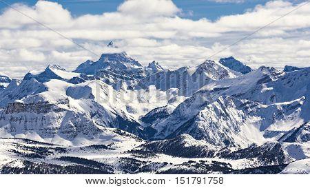 Mountain Ski Resort Mount Assiniboine Banff National Park Alberta Canada on a sunny winter day